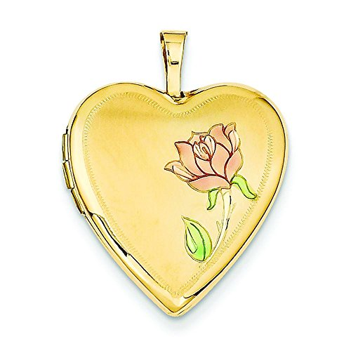 14K Gold 20mm Enamel Rose Heart Jewelry Pendant Charm Locket