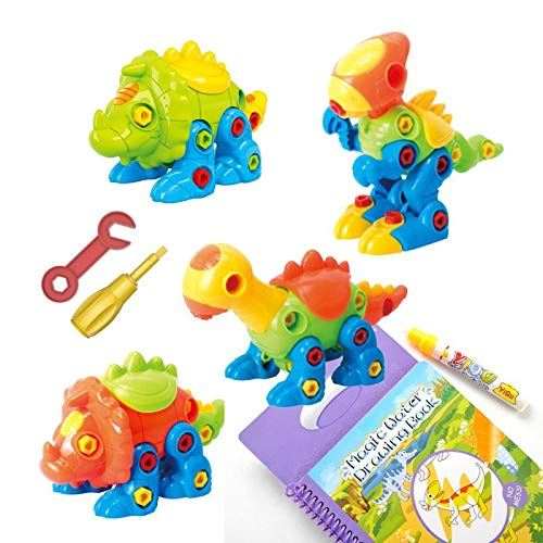 Creative Adventure 4 pack TakeApart Dinosaur Toy Set with Tools|Kids can Takeapart &Re-Assemble|Promotes STEM Learning for Boys Girls Gift Age 3,4,5,6,7,8,9|with Dinosaur Re-usable Water Coloring Book