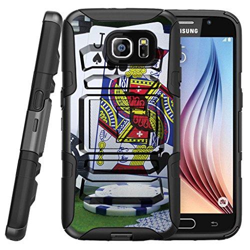(TurtleArmor | Compatible for Samsung Galaxy S7 Edge Case | G935 [Hyper Shock] Hybrid Armor Kickstand Cover Belt Clip Holster Hard Protector Silicone Gambling Casino - Blackjack)