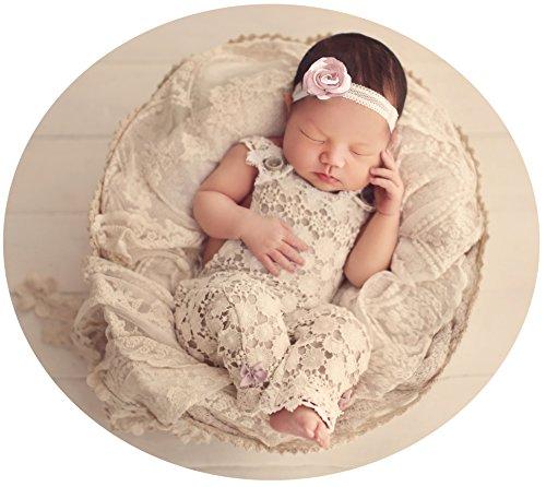 elia Lace Baby Romper Ivory Vintage Purple Accents - 6 Months (Revolution Skirt)