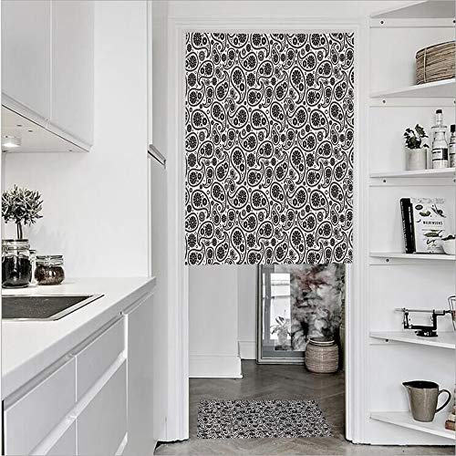 SCOCICI 3D Printed Linen Textured French 1 Panel Door Curtains 1pcs Doormat Kitchen Mat Rug,Design Floral Geometrical Details CircleSingle Panel Door Curtain 27.6