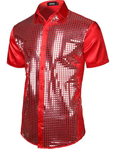 JOGAL Mens Metallic Sequins Baseball Bomber Jacket 70s Disco Party Costume