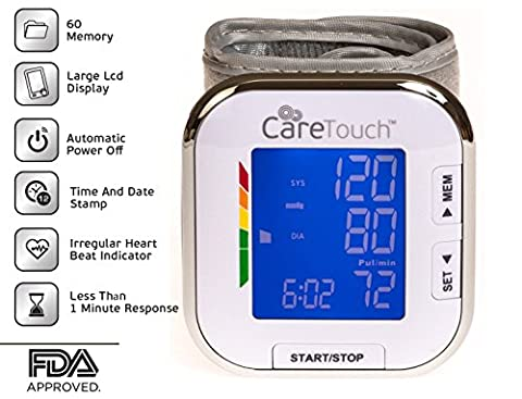 Care Touch Fully Automatic Wrist Blood Pressure Cuff Monitor - Platinum Series, 5.5