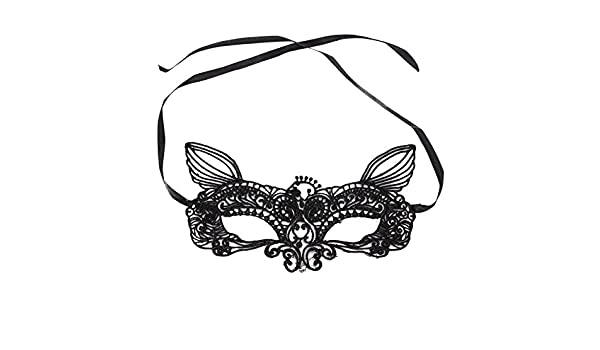 Amazon.com: Jewelry And Watch - Black White y Lace Eye Cat Face Mask Masquerade Party - 1PCs: Clothing