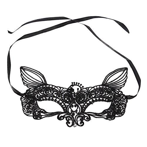 Jewelry And Watch - Black White y Lace Eye Cat Face Mask Masquerade Party - (Beetlejuice Costume Couple)