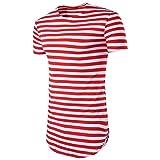 Hot Sale!Men's Tee,Neartime Men's Tops Shirt Striped Short Sleeve Casual T-Shirt Blouse (l, Red)