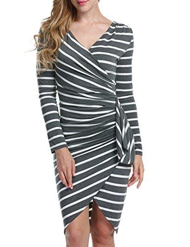 Acevog Women Long Sleeve Casual Striped Wear to Work Party Pencil Dress (Large, Dark Gray)