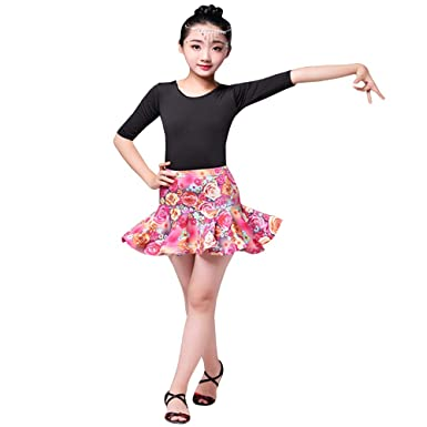 53c23a872 Amazon.com  BOZEVON Girls Latin Clothes - Latin Dance Skirt Short ...