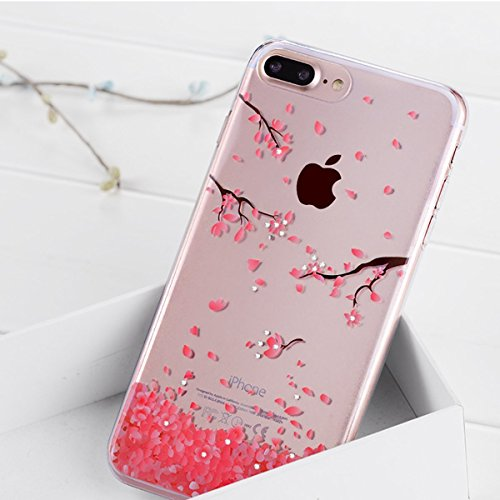 Price comparison product image IKASEFU iPhone 6 Case,iPhone 6S Case,Diamond Bling Glitter Luxury Soft TPU Silicone Rubber Bumper Thin Protective Sparkly Crystal Clear Case for iPhone 6/6S,Pink flower