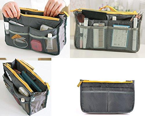 BONAMART Double Zipper Travel Makeup Handbag Organiser Purse Cosmetic Toiletry StorageBag
