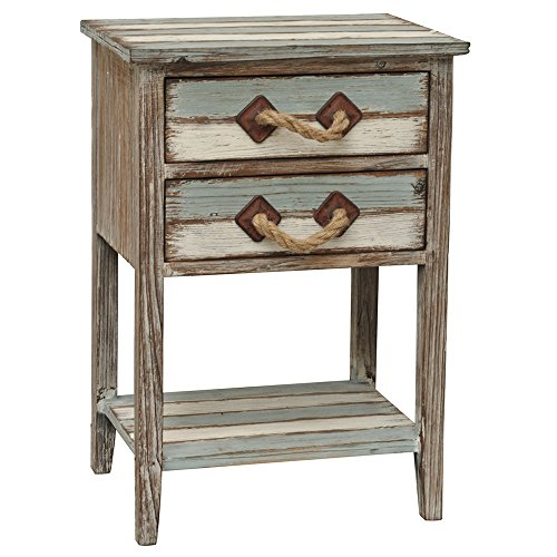 Crestview Collection Nantucket 2 Drawer Weathered Wood Accent Table by Crestview Collection