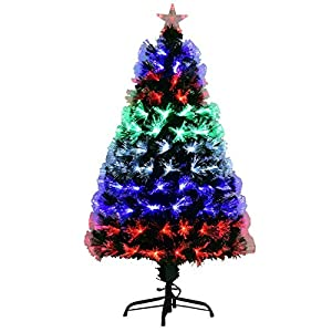 Goplus Pre-Lit Fiber Optic Christmas Tree Artificial Fireworks Spruce Tree w/Multicolor LED Lights, Top Star & Solid Metal Stand 105