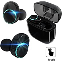 True Wireless Earbuds, Bluetooth Headphones TWS Mini Stereo Sports Gym Running Earphones Touch Control BT V4.2 Headset with Mic Charging Case for Android iPhone iPad