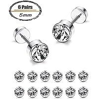 JOERICA 6 Pairs Stainless Steel Mens Womens Cartilage Stud Earrings Hellix Tragus Barbell Ear Piercing Bezel Earrings
