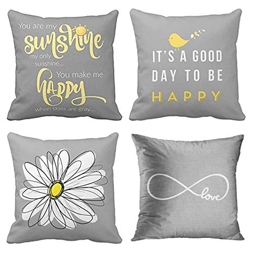 Emvency Set of 4 Throw Pillow Covers Yellow Gray with You are My Sunshine Chevron Birds Cute Decorative Pillow Cases Home Decor Square 18x18 Inches ()