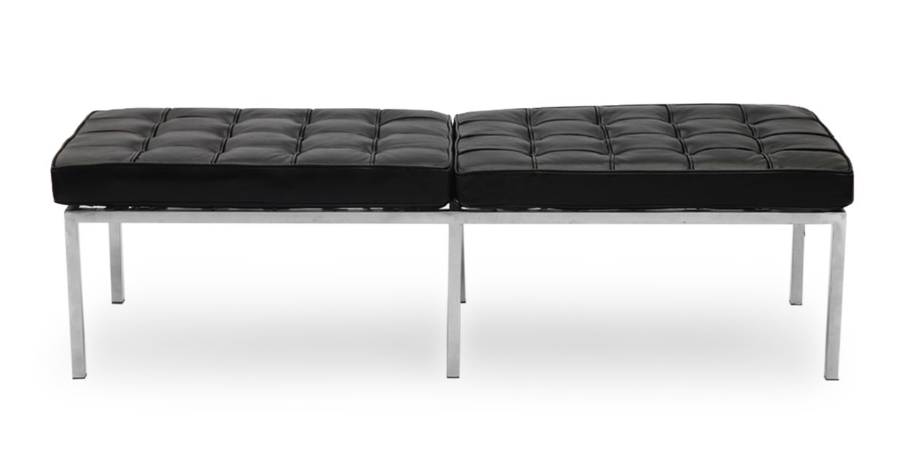 Kardiel Florence Knoll Style Bench 3 Seater, Black Premium Leather