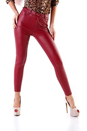 Fashion4Young 11075 Damen Röhrenhose Slimline Leder-Look Lederimitat  Damenhose Wetlook Hose (6-weinrot c258699d1e