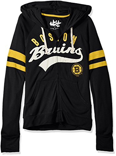 NHL Boston Bruins Women's Rundown Full Zip Hoodie, X-Large, Black (Bruins Sweatshirt Ladies Boston Hoody)