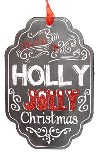 Jolly Hanging Sign with Ribbon Christmas Decor, 4 by 6