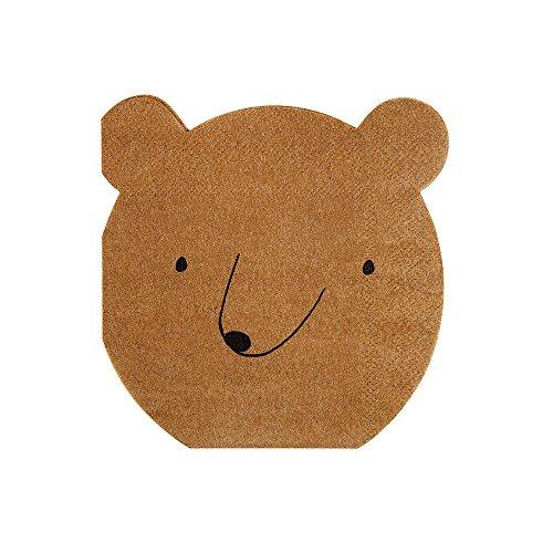 Meri Meri, Bear Napkins, Birthday, Party Supplies - Small (Cut Napkin)