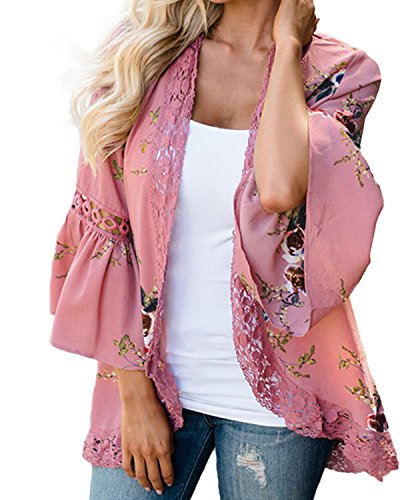 Kidsform Women's Floral Kimono Lace Long Sleeve Casual Crochet Cardigan Wrap Chiffon Outwear Cover Up Tops Pink US 6-8/ASIAN M (Crochet Up Cover Long Sleeve)