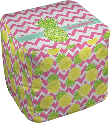 RNK Shops Pineapples Cube Pouf Ottoman - 13'' (Personalized) by RNK Shops (Image #1)