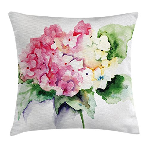 Floral Throw Pillow Cushion Cover by Ambesonne, Hydrangea Flower Bouquet in Watercolor Blossoms Botany Petals Image, Decorative Square Accent Pillow Case, 16 X 16 Inches, Pink Yellow Forest Green (Pillows Hydrangea Throw)