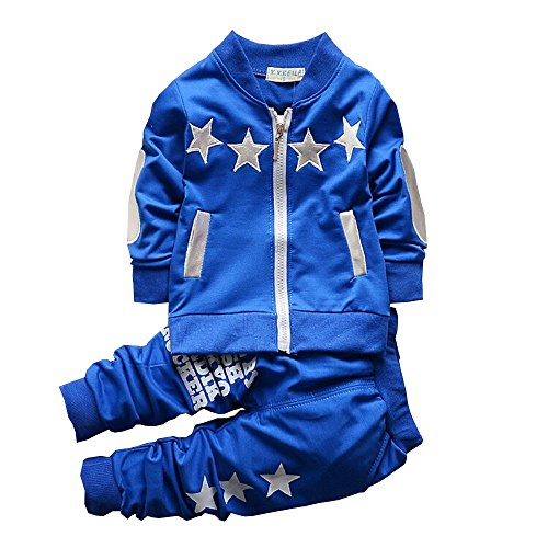BibiCola Baby Boy Clothes Toddler Boys Outfits Suit Bebe Star Clothing Set Cotton Long Sleeve T-Shirt+Pants (2T, Blue)
