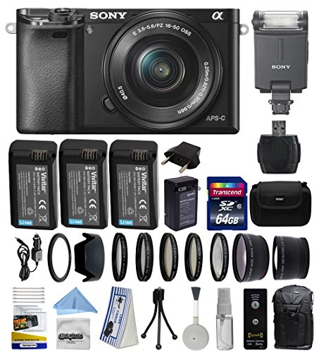 Sony Alpha a6000 24.3 MP Interchangeable Mirrorless Lens Camera with 16-50mm Power Zoom Lens (ILCE6000L/B) with Advanced Accessories Bundle Kit includes Sony HVL-F20M External Flash + 64GB Class 10 SDHC Memory Card + x3 Replacement (1200mAh) NP-FW50 Batte by Sony