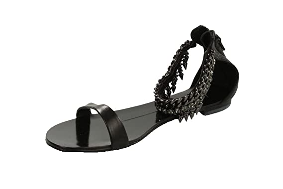 8fcf15b9fef979 LOLA CRUZ Damen Sandalen Gr 36 Schwarz Strass Nieten Leder Sandalen  Schuhe C17