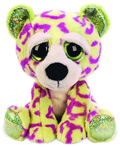 Suki Gifts Lil Peepers Fun Sasha Leopard Plush Toy with Green Sparkle Accents (Small, Green/Purple)