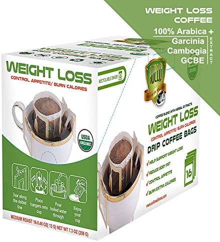 SOLLO Weight Loss Coffee Bags 16 Per Pack 100% Arabica Coffee with Active Herbal Extracts, Slimming, Slim, Diet, Detox, USDA Organic, Drip Brewing Bags