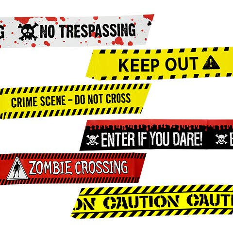 Caution Zombie Crossing Tape Keep Out Haunted House Enter If You Dare Set of 4 Halloween Spider Web Creepy Scary Harvest Decor Decoration Decorations Tape
