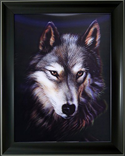 [NEWLY LISTED] 3D + Lenticular Framed 3d Picture Poster Artwork Wall Decor Holographic Pics Optical Illusion Animated Image ( With Black Frame ) (A Wolf (Bird Head Skeleton)