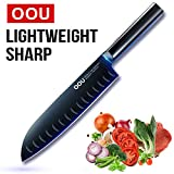 OOU Kitchen 7 inch Professional Chef's Knife, Daily Multipurpose Knives for Home and Restaurant, Balanced Comfortable Handle, German High Carbon Stainless Steel, Designed in Japan (7 inch)