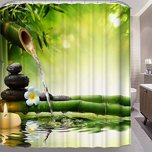 "ViviLinen Fabric Shower Curtain Zen Garden Green Water Resistant Bath Curtains with 12 Hooks for Bathroom Home Decorations (72"" W×72"" L) from ViviLinen"