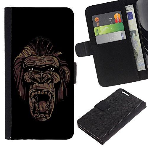 "EuroCase - Apple Iphone 6 PLUS 5.5 - ""Cool Gorilla Monkey Face Graffiti Street Art - Cuir PU Coverture Shell Armure Coque Coq Cas Etui Housse Case Cover"