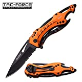 : TAC Force TF-705 Series Assisted Opening Tactical Folding Knife, Half-Serrated Blade, 4-1/2-Inch Closed, Orange