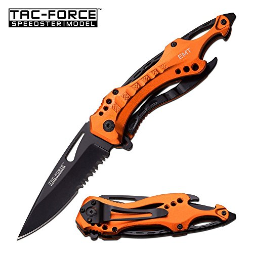 Assisted Opener Pocket Clip (TAC Force TF-705 Series Assisted Opening Tactical Folding Knife, Half-Serrated Blade, 4-1/2-Inch Closed, Orange)