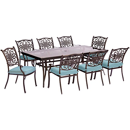 Blue Lattice Top (Cambridge SEASDN9PCG-BLU Seasons 9-Piece Set Extra-Long Glass-Top Dining Table Outdoor Furniture, Blue)