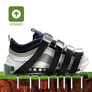 Zapatillas de aireación para césped hinchables con 4 sandalias de aleación de aluminio con hebilla de suelo, 4 correas ajustables, un par de zapatos extra respetuosos con el medio ambiente antisucios, sandalias de ápex pesadas para césped o yard...