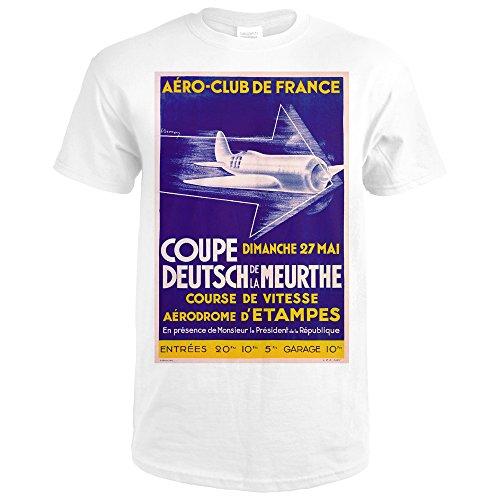 Collectible Club Coupe - Aero - Club de France - Coupe Deutsch de la Meurthe Vintage Poster (artist: Besson) France (Premium White T-Shirt X-Large)