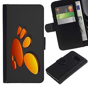 All Phone Most Case / Oferta Especial Cáscara Funda de cuero Monedero Cubierta de proteccion Caso / Wallet Case for Samsung Galaxy S6 // Funny Cute Foot Print Orange