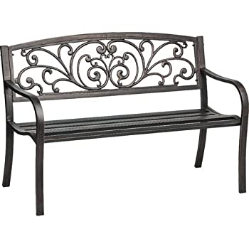 Mosaic Powder Coated 33.5 X 24 X 50.5 Inch Cast Iron Outdoor Patio Bench  With