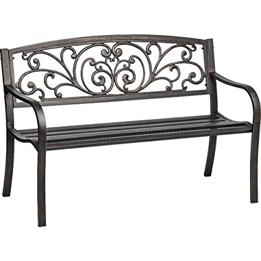 Mosaic Powder Coated 33.5 x 24 x 50.5-Inch Cast Iron Outdoor Patio Bench with Ivy Design Backrest, Black