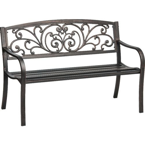 Mosaic Powder Coated 33.5 x 24 x 50.5-Inch Cast Iron Outdoor Patio Bench with Ivy Design Backrest, Black (Furniture Steel Garden)