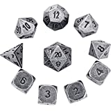Hestya 10 Pieces Metal Dices Set DND Game Polyhedral Solid D&D Dice Set with Storage Bag and Zinc Alloy with Printed Numbers for Role Playing Game Dungeons and Dragons, Math Teaching (Silver Nickel)
