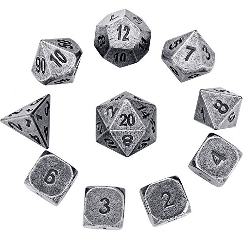 Number Dice Set - Hestya 10 Pieces Multi-sided Dices Set Metal Polyhedral Dices with Printed Numbers and Velvet Storage Bags for Games
