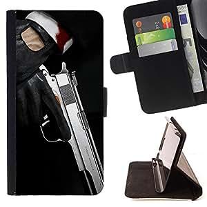 - Modern pistol - - Monedero PU titular de la tarjeta de cr????dito de cuero cubierta de la caja de la bolsa FOR Apple Iphone 5C RetroCandy