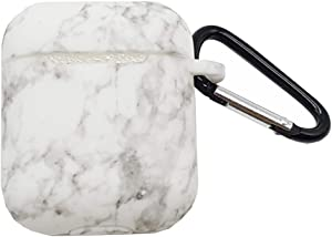 Silicone Case Cover Compatible Airpods 1 & AirPods 2,SkyCity Silicone Protective Cover Case Metal Keychain Compatible Apple AirPods (White Marble)